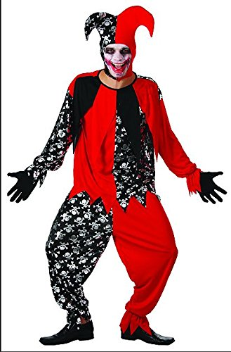 YOU LOOK UGLY TODAY Men's Classic Red/Black CLOWN Halloween Party Costume Adult Cosplay -Large (M Party Costumes)