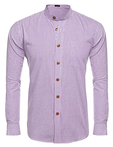 JINIDU Men's Striped Slim Fit Banded Collar Shirt Purple Banded Collar Broadcloth Shirt