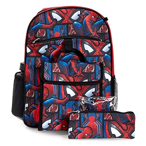 Marvel Spiderman Backpack & Lunch Bag 5-Piece Set ()