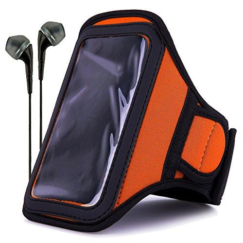 (VanGoddy Neoprene Workout Armband for Samsung Galaxy S4 / LG G2 / Apple iPhone 6 & 6s / Google Nexus 5 with Headphones & Wristband, Orange)