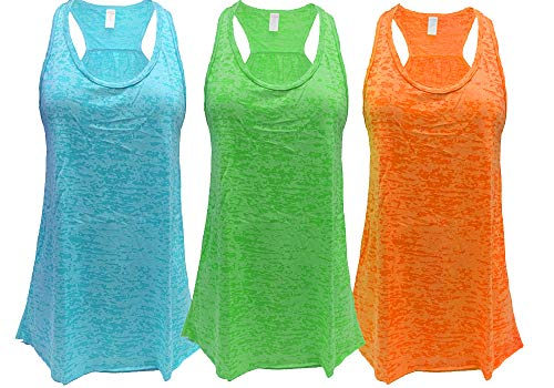 - Epic MMA Gear Flowy Racerback Tank Top, Burnout Colors, Regular and Plus Sizes, Pack of 3 (M, Blue/Green/Orange)