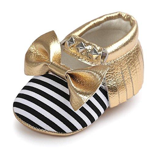Zapatos de la suavidad del remache de la raya del Bowknot del bebé, niño de Koly embroma las zapatillas de deporte(0 ~ 18 Meses) (13, Oro) Amarillo
