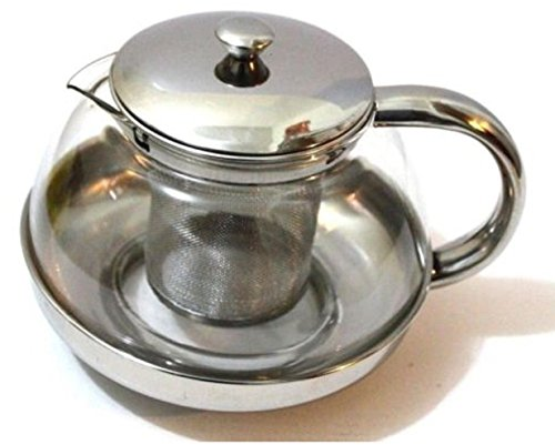 Tea Pot Stainless Steel Peapot 700 ML Glass With Stainless Steel Strainer Filter