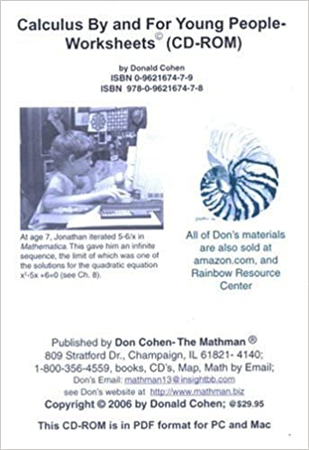 Calculus By and For Young People-Worksheets: Donald Cohen ...