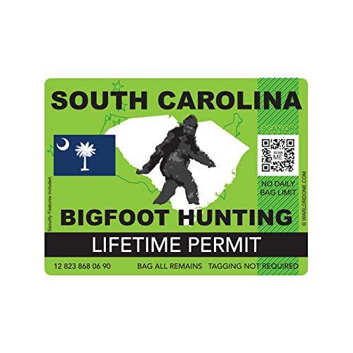 fagraphix South Carolina Bigfoot Hunting Permit Sticker Die Cut Decal Sasquatch Lifetime FA Vinyl - 4.00 Wide