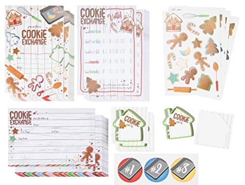 Invitations Party Gingerbread House (Christmas Cookie Exchange and Swap Party Kit - 24-Pack Holiday Party Invite Cards, Recipe Cards, Voting Ballots with Stickers for Xmas Party Event, Fill-In-Blank Postcard Style, 4 x 6 inches)