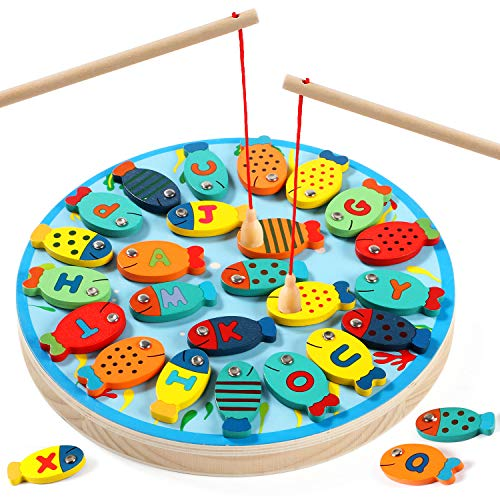 Lewo 30 PCS Magnetic Fishing Game Toddler Wooden Toys Preschool Alphabet Fish Board Games for 2 3 4 Year Old Girls Boys Kids Birthday Learning Education Math Toys with Magnet Poles (Best Pc Games For Toddlers)