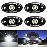 4PCS LED Rock Lights Under Body Glow Trail Rig Lamp for JEEP ATV SUV Truck Boat(White)