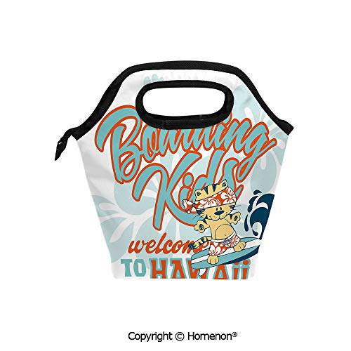 Insulated Neoprene Soft Lunch Bag Tote Handbag lunchbox,3d prited with Cute Kitten Surfing Boarding Kids Hawaii Animal Fun Abstract Floral,For School work Office Kids Lunch Box & Food Container