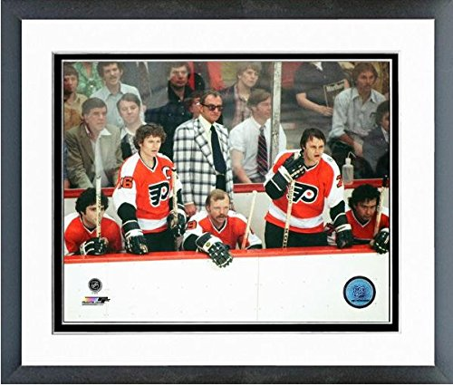 "Reggie Leach Bobby Clarke Bill Barber Action Philadelphia Flyers NHL Action Photo (Size: 12.5"" x 15.5"") Framed"