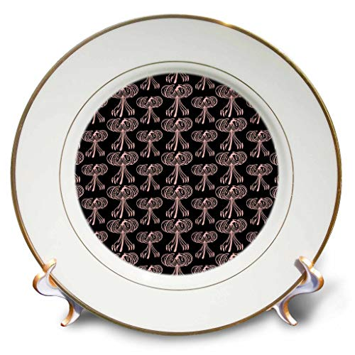 3dRose Russ Billington Patterns - Tiger Lily Pattern in Pink on Black - 8 inch Porcelain Plate (cp_293791_1)