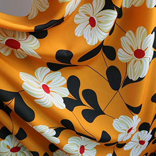 Stretch Non Fabric - Pukido Africa Large Flower Fabric Stretch Chiffon Textile Non-Transparent Orange 100cm150cm