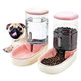 HappyCat Pets Gravity Food and Water Dispenser Set,Small & Big Dogs and Cats Automatic Food and Water Feeder Set,Double Bowl Design for Small and Big Pets (Pink)