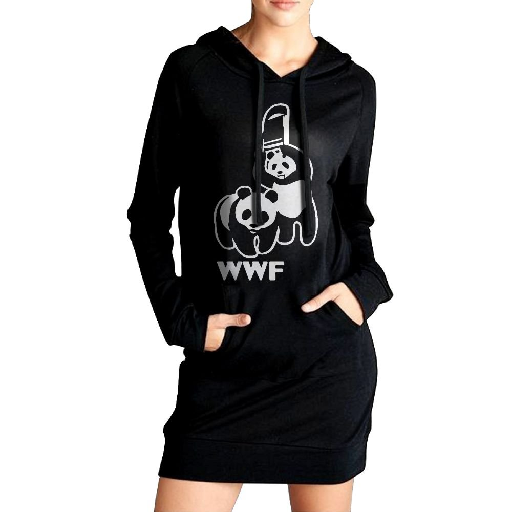 SHIRT-6 WWF Funny Panda Bear Wrestling Womens Long Sleeve Hoodie Sweatshirt Pullover | Tunic Slim Pockets Dress by SHIRT-6