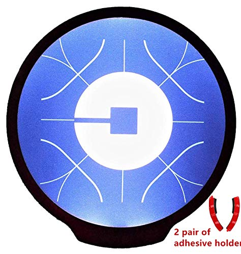 Uber Light Sign Logo Sticker Decal Reflective Bright Glowing Wireless Removable New UBER Sign Logo Decal Flashing Car Cycle Sticker White Light UBER Sign Decal with Diameter of 4.6¡¡¯ for UBER Driv