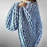 Raylans Handmade Chunky Knit Blanket Soft Knitting Throw Bed Rug Bulky Sofa Pet Mat Blanket Bedroom Decor,Sky Blue,32' x 32'