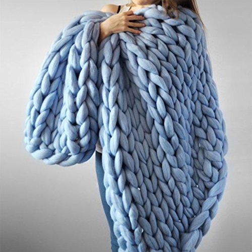 Raylans Handmade Chunky Knit Blanket Soft Knitting Throw Bed Rug Bulky Sofa Pet Mat Blanket Bedroom Decor,Sky Blue,39