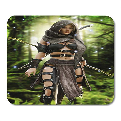 Emvency Mouse Pads Woman White Elven Mysterious Wood Elf Warrior in Mystical Forest Setting Fantasy 3D Rendering Medieval Mouse Pad 9.5