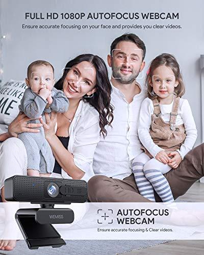 Webcam 1080P Full HD con Microfono, WEMISS Autofocus Webcam per PC con Correzione della Luce e Otturatore della Privacy VideoCamera per Video Chat Compatibile con Windows Mac e Android 3 spesavip