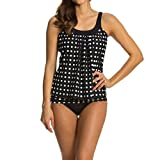 Kimloog Women Polka Dot Ruched Tankini Swimsuits with Boy Shorts 2 Piece Adjustable Bathing Suit (3XL, Black)