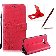 Wallet Leather Case for Galaxy J7 2016,Book Style Pu Leather Case for Galaxy J7 2016,Herzzer Retro Butterfly Flower Pattern Flip Fold Pouch Case with Card Holders Stand Magnetic Case