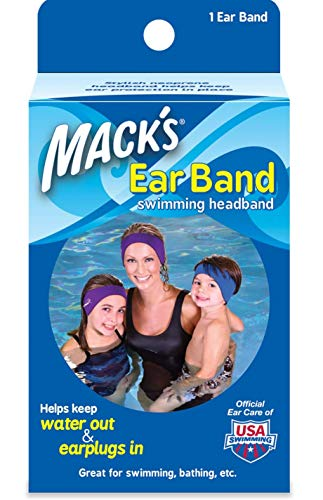 Macks Ear Band Swimming Headband, Best Swimmers Headband, Doctor Recommended to Keep Water Out and Earplugs in