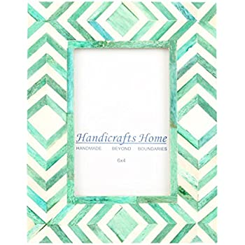 Amazon.com - Handicrafts Home 4x6 Photo Frame Green White Bone ...
