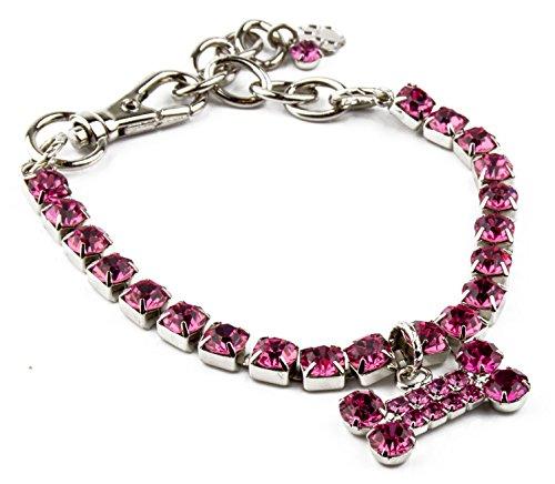 Buddy G Pink Austrian Crystal Rhinestone Brass Paladiumn Colored Plated Medium Chain Collar with Dog Bone Charm