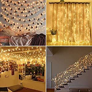 [2 Pack] Fairy String Lights, 120LED 12M/40Ft 8 Modes USB Plug in Powered Lights Waterproof Outdoor/Indoor Copper String…