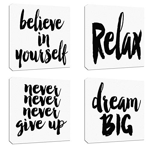 4Pcs x Canvas Wood Stretched Motivational Quotes Letter Words Success Fabric Print Framed Combine Modern Landscape Abstract Art For Home Room Office Wall Print Decor 12x12