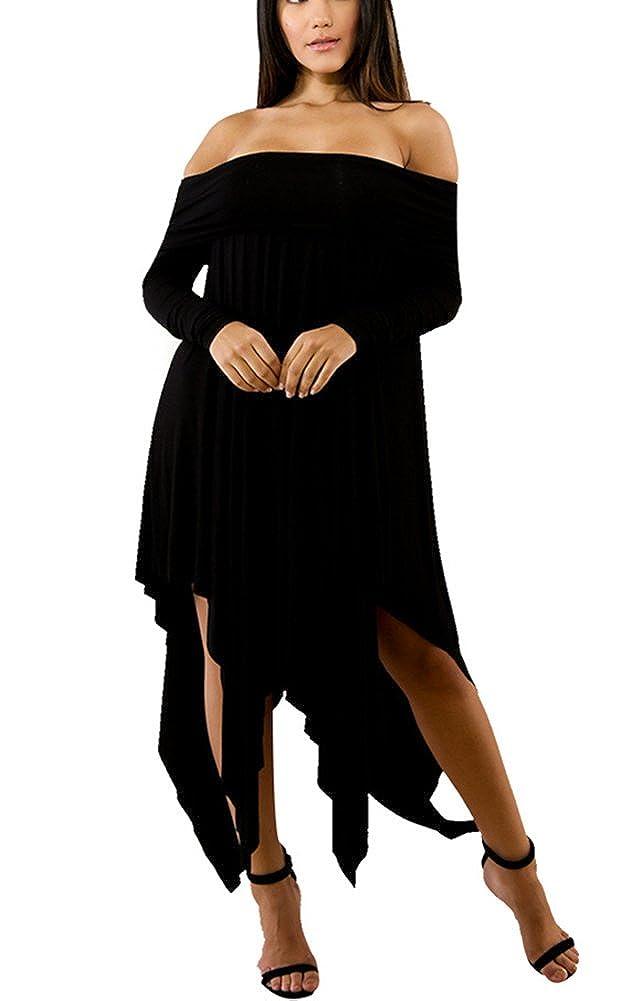 2a3e017322b Strapless Long Dress: Elasticized off the shoulder neck, Short Sleeve, High  waist side slit, Solid Colored, Asymmetrical hemline.