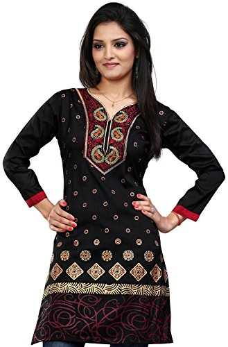 Indian Kurti Top Tunic Embroidered Womens Blouse India Clothes (Black, - India Clothing