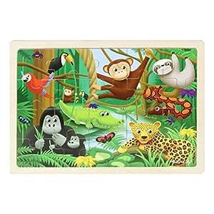 Masterkidz Rainforest Wooden Jigsaw Puzzle,Multicolor