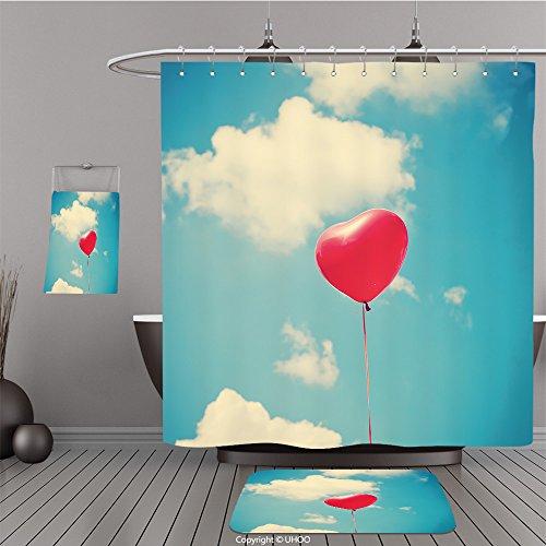 Uhoo Bathroom Suits & Shower Curtains Floor Mats And Bath Towels 97614020 Heart Balloon For Bathroom