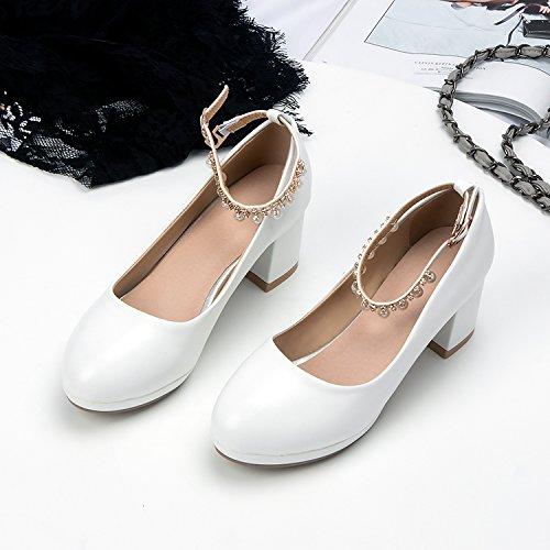 GAOLIM Gruesos Con De Heel De Resorte Solo El Shoes La Biselado Alto Con Zapatos Clip Ranurado Luz Blanco Mujer Zapatos Hembra rqYXr