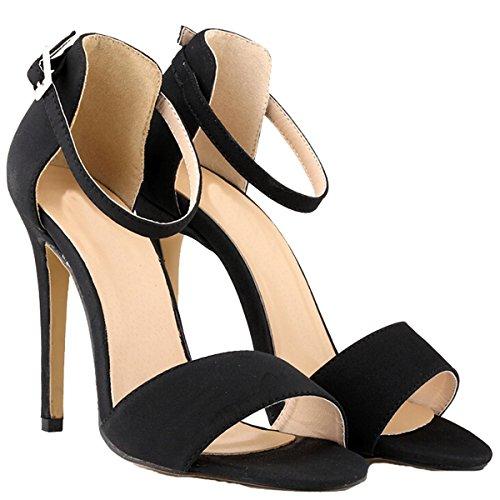 Win8Fong - Sandalias de vestir para mujer Negro - negro