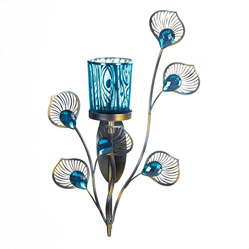 (Peacock Inspired Single Sconce Stunning Turquoise Color Glass Cup Stunning New)