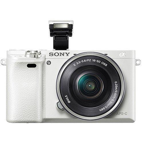 Sony Alpha a6000 Mirrorless Camera w/ 16-50mm & 55-210mm Lenses & 128GB Bundle - White
