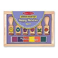 Juego de sellos de madera Melissa & Doug Happy Handles: 6 sellos y 6 colores sellos