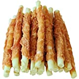 Pawant Puppy Training Snacks Dog Chews Treats Chicken Wrapped Bleached Rawhide Sticks 0.5lb