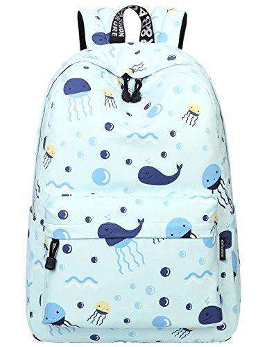School Bookbags for Girls, Cute Whales Backpack College Bags Women Daypack Travel Bag by Mygreen (Light Green)