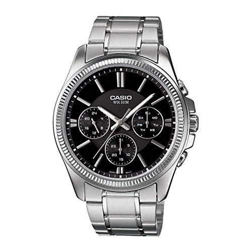 Casio #MTP1375D-1AV Men's Metal Band Fluted Bezel Multifunction Black Dial Watch