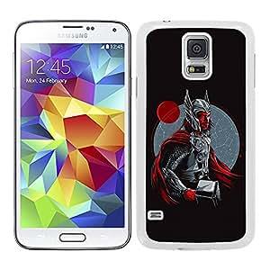 Funda carcasa TPU (Gel) para Samsung Galaxy S5 diseño Thor fondo negro superhéroe borde blanco