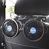 Poraxy Car Fans,12V Electric Auto Cooling Fan, Headrest 360 Degree Rotatable 2 Speed Dual Head Rear Seat Air Fan for Sedan SUV RV Boat