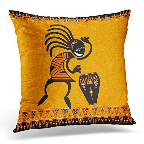 Emvency Throw Pillow Cover Orange Africa Tribal Dancing Figure with Drum African Southwest Decorative Pillow Case Home Decor Square 18x18 Inches Pillowcase (Design Kokopelli Drum)