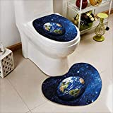 vanfan 2 Piece Shower Mat set PlanEarth in Solar System with Stars Life Glo Themed Custom made Heart shaped foot pad Set
