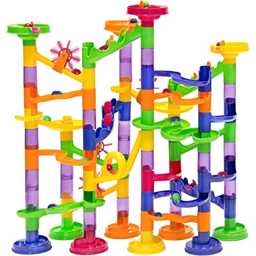 Best Choice Products 105 Piece Translucent Marble Run Coaster Railway Toy Game Set 75 Building Blocks+30 Marbles (Marbles Plastic For Games)