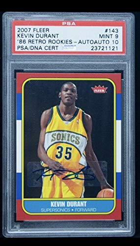 89b94d3ae1a 2007-08 Fleer 1986 Retro Kevin Durant RC Rookie AUTO 9 10 POP 1 - PSA DNA  Certified - Basketball Slabbed Rookie Cards
