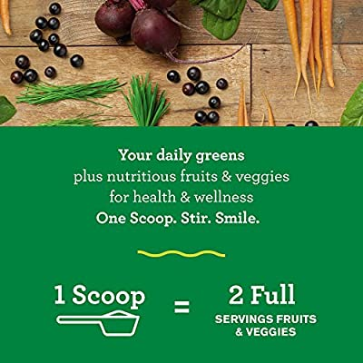 Amazing Grass Green Superfood: Organic Wheat Grass and 7 Super Greens Powder, 2 servings of Fruits & Veggies per scoop, Original Flavor, 60 Servings
