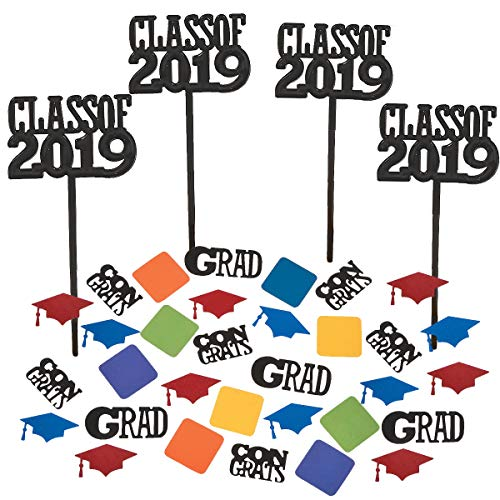 Class of 2019 Graduation Party Decorations - Cupcake topper Food/Appetizer Picks (72 pcs) and Confetti -